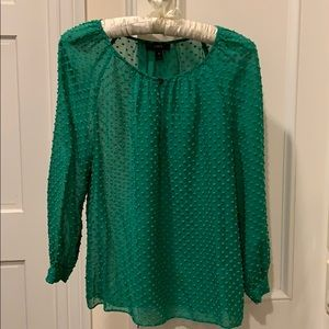 Emerald green sheer J Crew blouse in 00